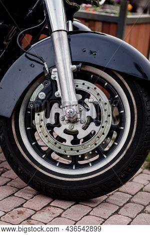 Minsk, Belarus, October 2021 - Wheel Of Harley Davidson Bike