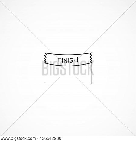 Finish Banner Icon. Finish Flask Line Icon. Finish Banner Isolated Line Icon