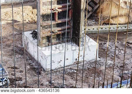Monolithic Foundation Formwork. Forms Vertical Formwork Structures For The Basement Of A Residential