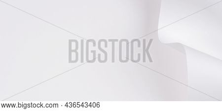 Abstract Geometric Shape White Color Paper Background. Creative Monochrome Background Of Shape And C