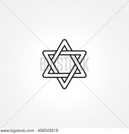 David Star Icon On White Background. David Star Line Icon