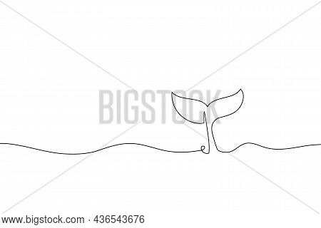 Continuous One Line Drawing Whale. Abstract Hand Drawn Whale Tail With Ocean By One Line. Minimalist