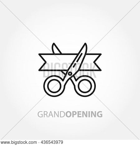 Scissors Cut The Red Ribbon. Grand Opening Line Icon