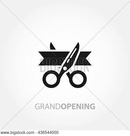 Scissors Cut The Red Ribbon. Grand Opening Icon