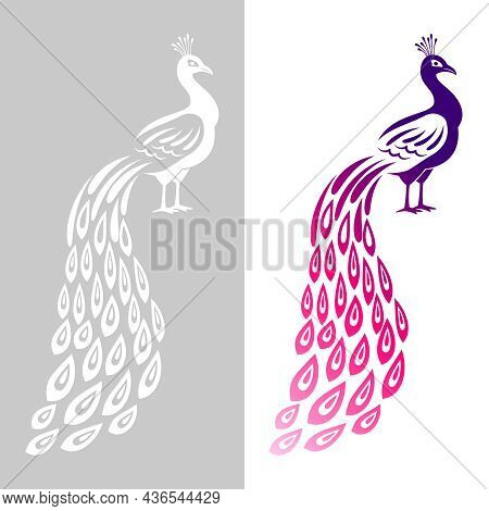 Peacock Wedding Symbol. Abstract Peecoock Design Cutting Signs, Monochrome And Color Decorative Peac
