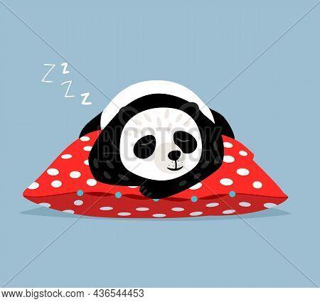 Sleeping Panda. Cute Lazy Asian Bear On Polka Dot Red Pillow, Tired Sleep Comic Animal Bears Vector