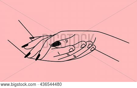 Proposal Hands. Accept Help Woman Hand On Male Palm Line Sketch, Wedding Deal Proposing, Gentle Heli