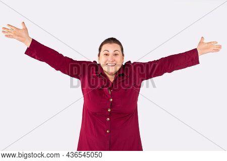 Plump, Plus Size Woman Wants Hugs. Portrait Of Charming Happy Enthusiastic Attractive European Femal