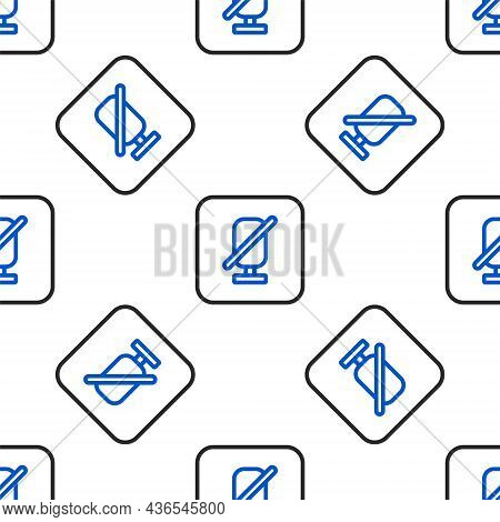 Line Mute Microphone Icon Isolated Seamless Pattern On White Background. Microphone Audio Muted. Col