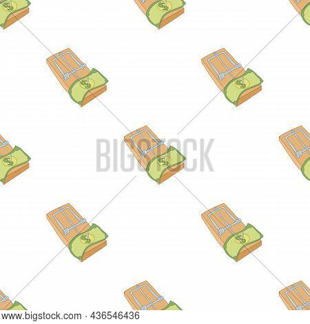 Mousetrap With Money Pattern Seamless Background Texture Repeat Wallpaper Geometric Vector