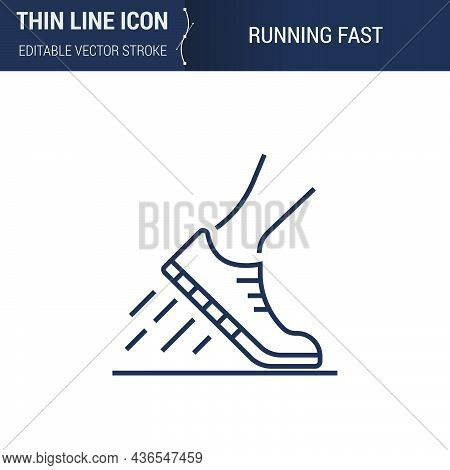 Symbol Of Running Fast Thin Line Icon Of Sport And Fitness. Stroke Pictogram Graphic Suitable For In