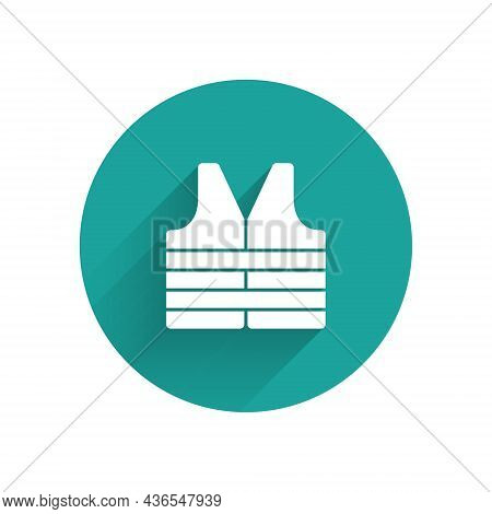 White Life Jacket Icon Isolated With Long Shadow. Life Vest Icon. Extreme Sport. Sport Equipment. Gr