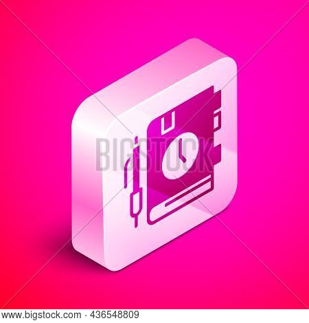 Isometric Daily Paper Notepad Icon Isolated On Pink Background. Silver Square Button. Vector