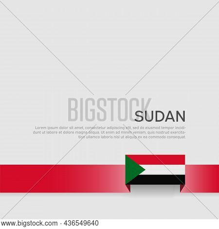 Sudan Flag Background. State Sudanese Patriotic Banner, Cover. Ribbon Color Flag Of Sudan On A White