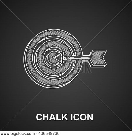 Chalk Target Financial Goal Concept Icon Isolated On Black Background. Symbolic Goals Achievement, S