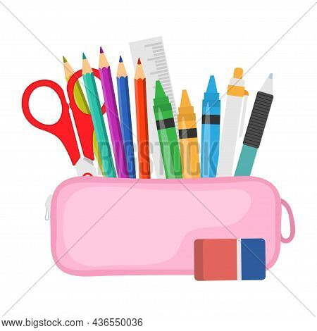 Open Pencil Case, Full Of Stationery Items. Pink Bag With Supplies. Back To School Concept. Vector I