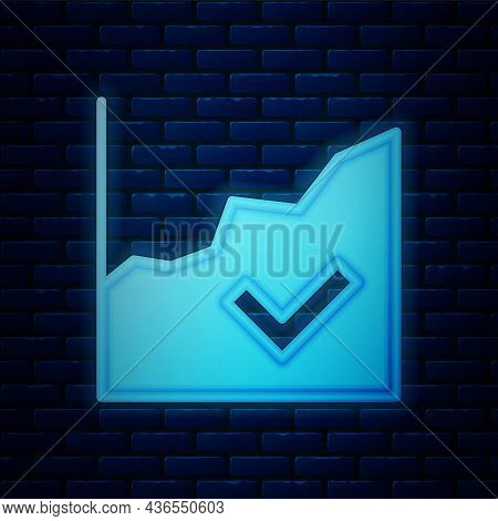 Glowing Neon Financial Growth Increase Icon Isolated On Brick Wall Background. Increasing Revenue. V