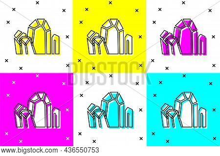 Set Gem Stone Icon Isolated On Color Background. Jewelry Symbol. Diamond. Vector