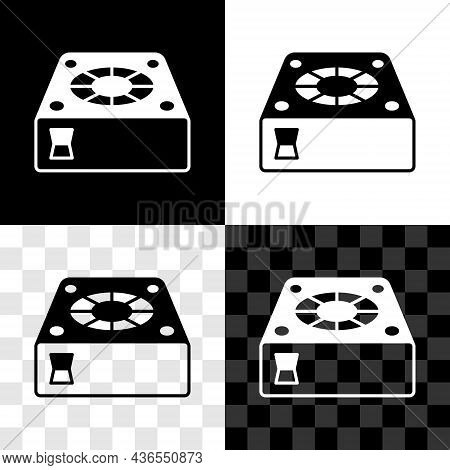 Set Computer Cooler Icon Isolated On Black And White, Transparent Background. Pc Hardware Fan. Vecto