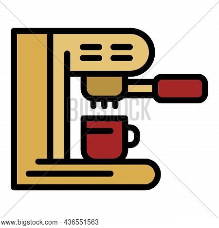 Coffee Machine Side View Icon. Outline Coffee Machine Side View Vector Icon Color Flat Isolated