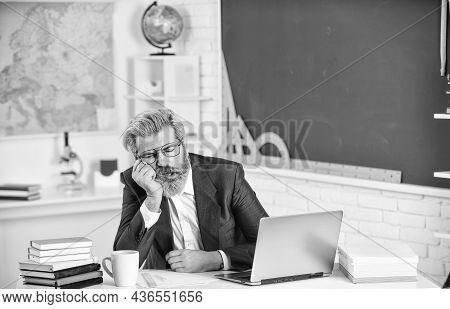 Sleep Solves Everything. Bearded Man Sleep In Class. Senior Teacher Take Nap. School Break. Sleep Ti