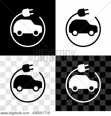 Set Electric Car And Electrical Cable Plug Charging Icon Isolated On Black And White, Transparent Ba