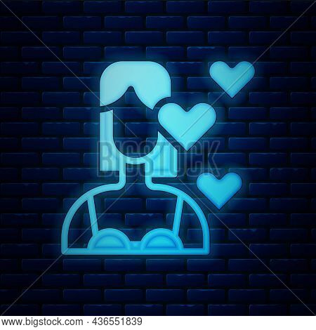 Glowing Neon Love Yourself Icon Isolated On Brick Wall Background. Self Love. Self Care And Happines
