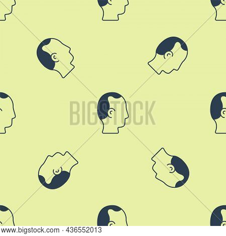 Blue Baldness Icon Isolated Seamless Pattern On Yellow Background. Alopecia. Vector