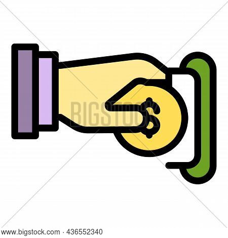 Hand Inserts A Coin Icon. Outline Hand Inserts A Coin Vector Icon Color Flat Isolated