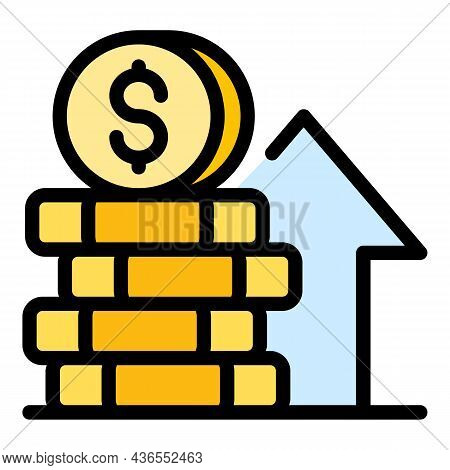 Stack Of Coins Growth Icon. Outline Stack Of Coins Growth Vector Icon Color Flat Isolated