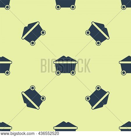Blue Coal Mine Trolley Icon Isolated Seamless Pattern On Yellow Background. Factory Coal Mine Trolle