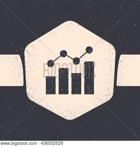 Grunge Financial Growth Increase Icon Isolated On Grey Background. Increasing Revenue. Monochrome Vi