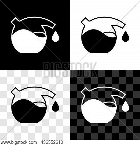 Set Test Tube And Flask Chemical Laboratory Test Icon Isolated On Black And White, Transparent Backg