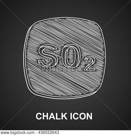 Chalk Sulfur Dioxide So2 Gas Molecule Icon Isolated On Black Background. Structural Chemical Formula