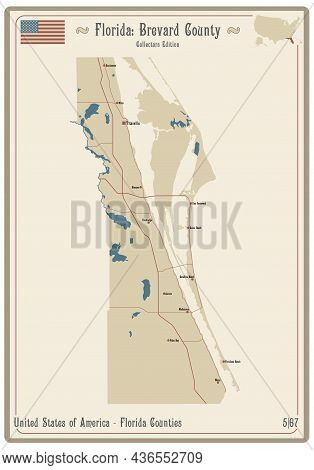 Map On An Old Playing Card Of Brevard County In Florida, Usa.