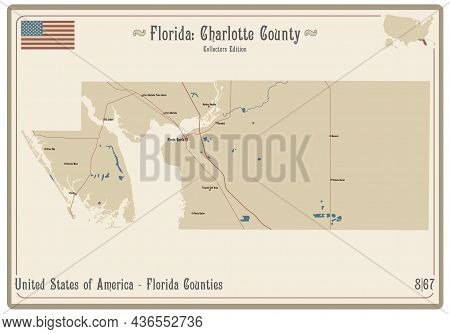 Map On An Old Playing Card Of Charlotte County In Florida, Usa.