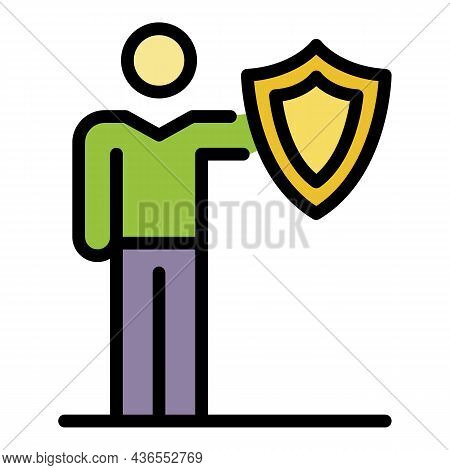 Man With A Shield Icon. Outline Man With A Shield Vector Icon Color Flat Isolated