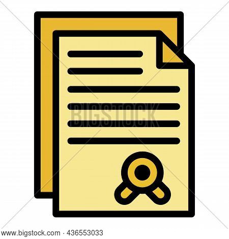 License Icon. Outline License Vector Icon Color Flat Isolated