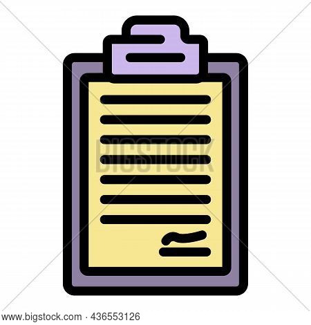 Contract Icon. Outline Contract Vector Icon Color Flat Isolated