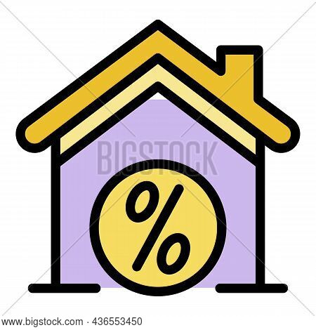 House And Percent Icon. Outline House And Percent Vector Icon Color Flat Isolated
