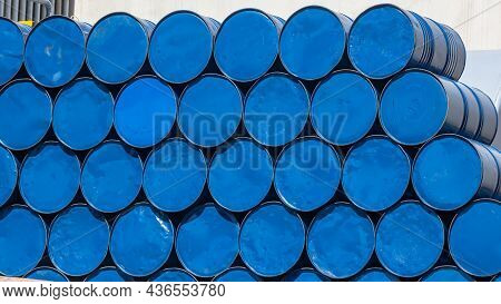 Steel Blue Two Hundred Liter Or Forty Five Gallon Metal Fuel Oil Chemical Liquid Drums Stacked Outdo
