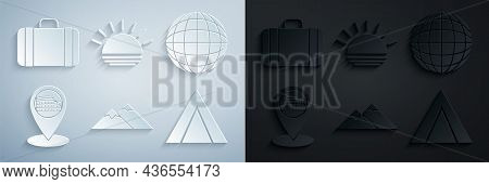 Set Mountains, Earth Globe, Map Pointer With Coliseum Rome, Italy, Tourist Tent, Sunset And Suitcase