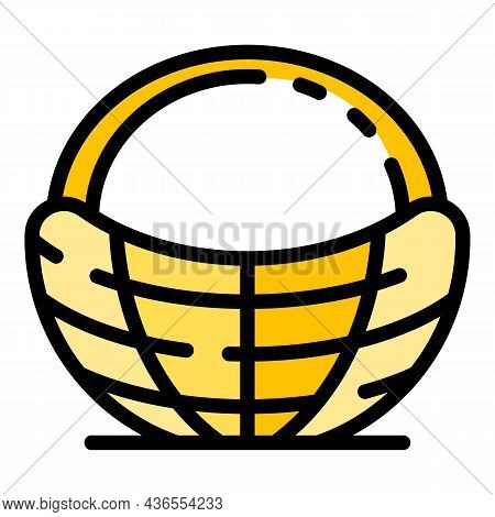Picnic Basket Icon. Outline Picnic Basket Vector Icon Color Flat Isolated