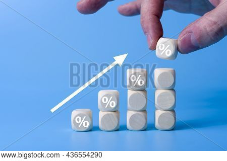 Wooden Blocks With Percentage Sign,represent In Meanings Of Interest Rate Increase, Performance Incr