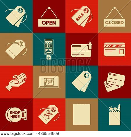 Set Paper Shopping Bag And Food, Credit Card, Price Tag With Inscription Sale, Pos Terminal Printed