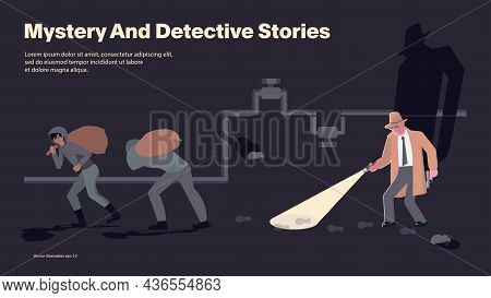 A Detective With A Flashlight Follows The Trail Of Criminals