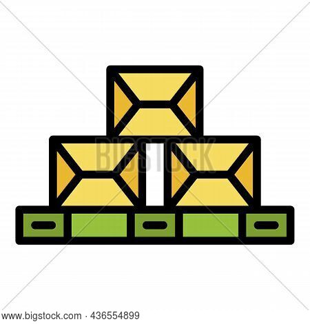 Boxes On Pallet Icon. Outline Boxes On Pallet Vector Icon Color Flat Isolated
