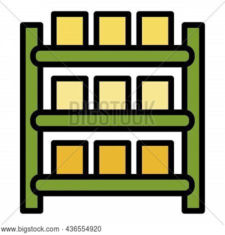 Warehouse Parcel Rack Icon. Outline Warehouse Parcel Rack Vector Icon Color Flat Isolated