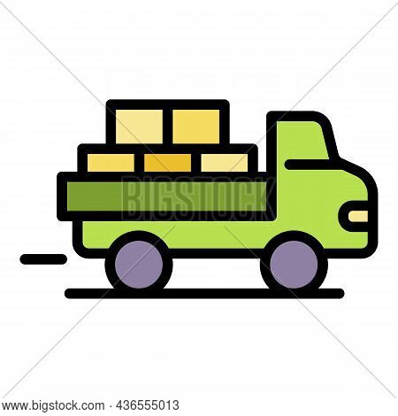 Full Truck Of Parcel Icon. Outline Full Truck Of Parcel Vector Icon Color Flat Isolated