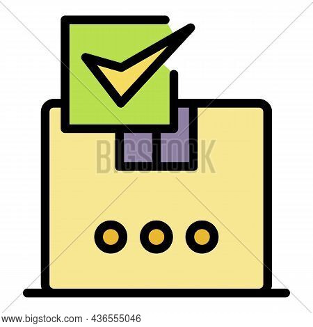 Appoved Parcel Box Icon. Outline Appoved Parcel Box Vector Icon Color Flat Isolated